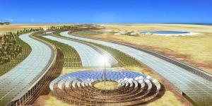 Minh hoạ đề xuất của dự án nhà máy điện lưới nhà kính  Sahara (Dự án Phát triển Thiên nhiên Sahara, 2009)